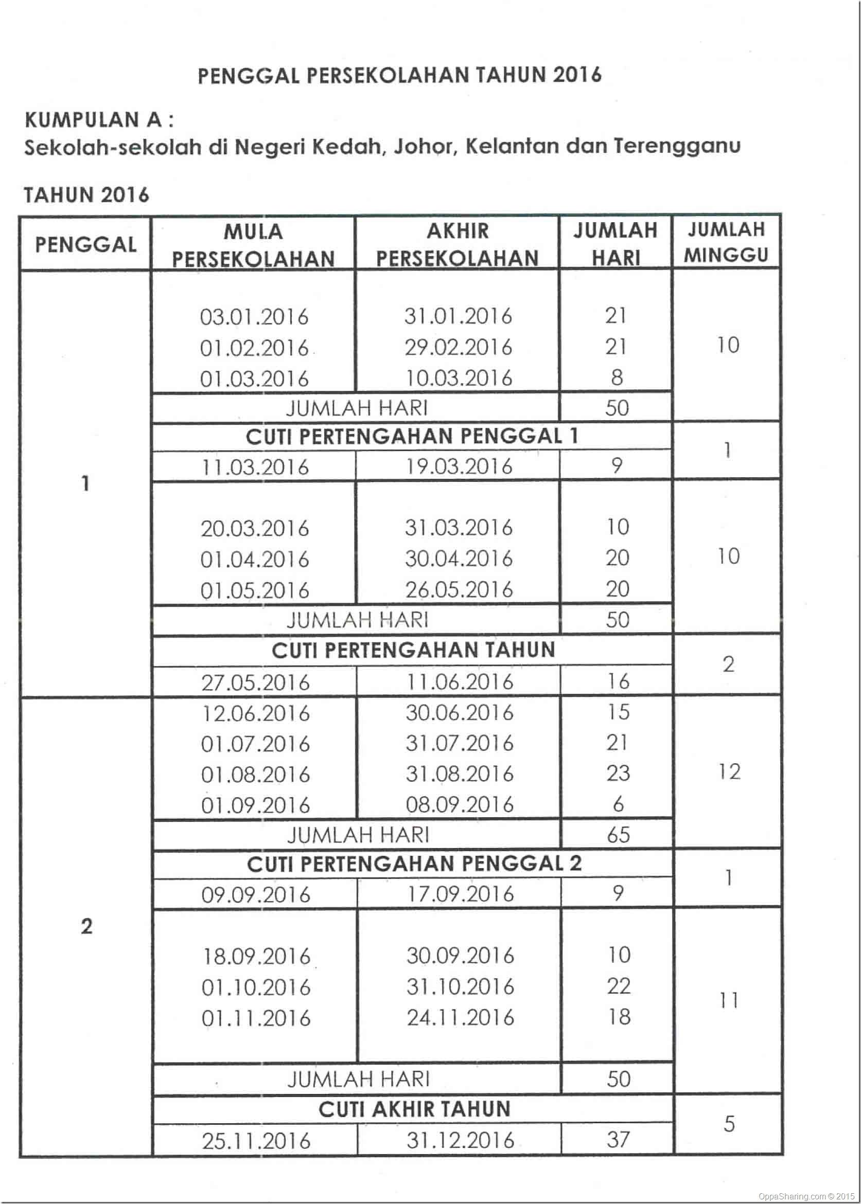 Takwim Sekolah 2016- Kumpulan A
