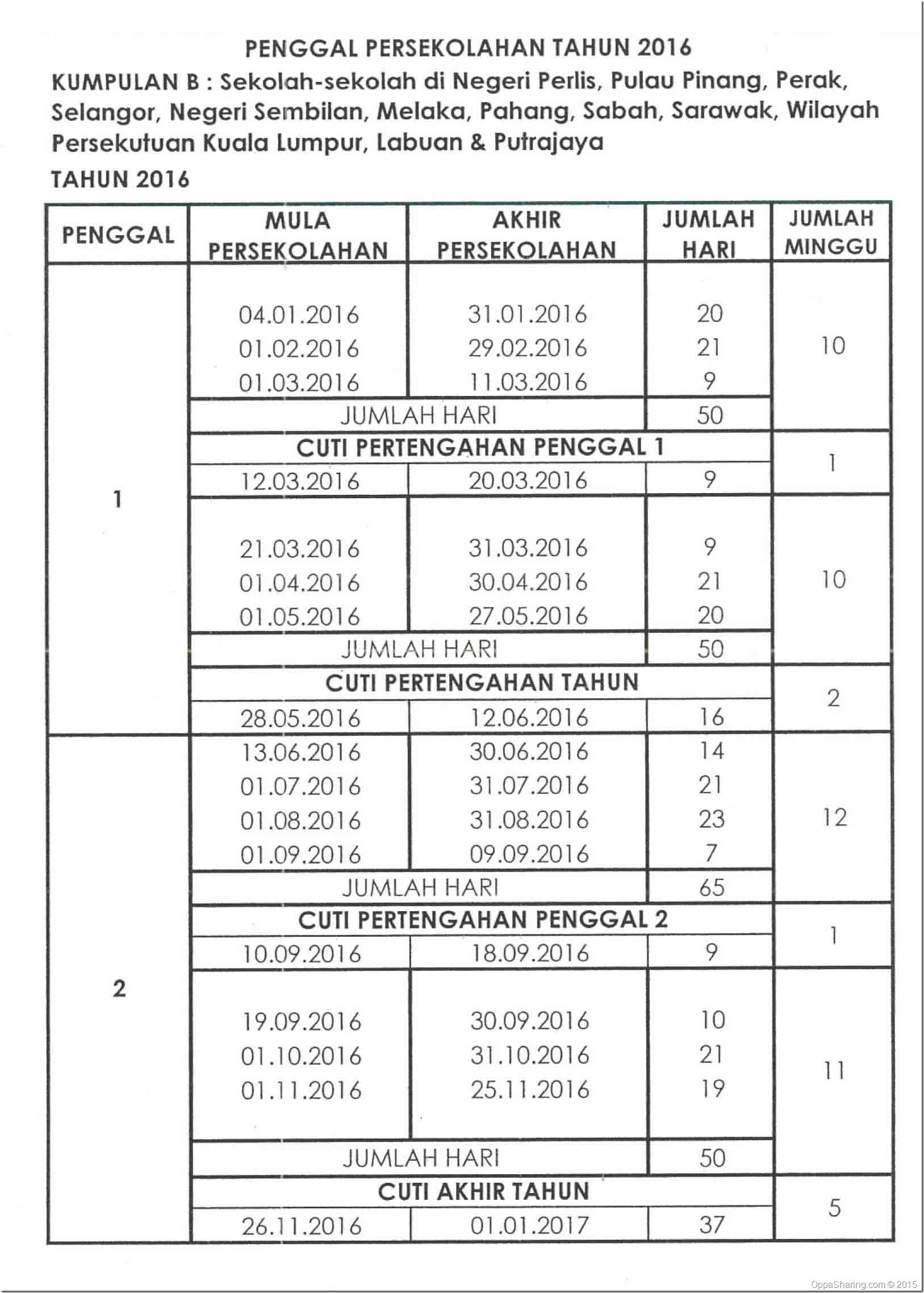 Takwim Sekolah 2016-Kumpulan B