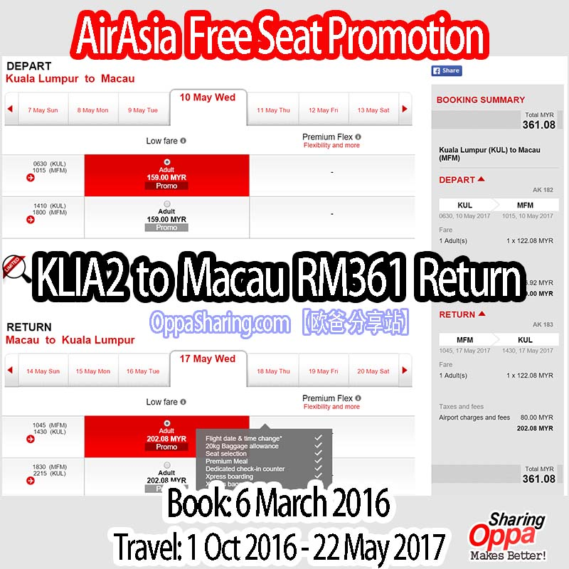 KLIA2 to Macau RM361 Return