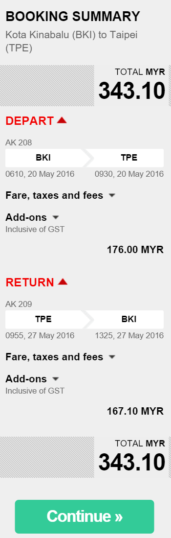bki to taipei + value pack (20kg + meals)