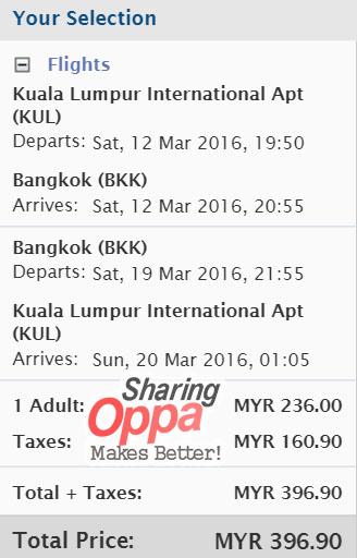 mas airlines kul to bkk rm396 wtr