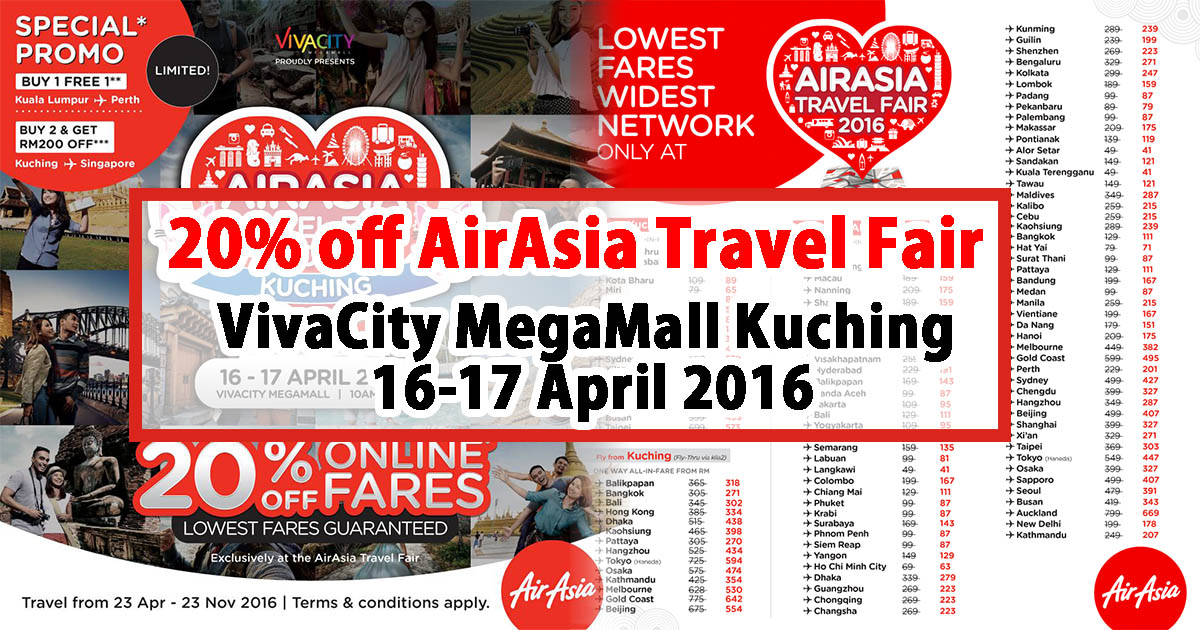 Photo of 20% off AirAsia Travel Fair @VivaCity MegaMall Kuching 16-17 April 2016