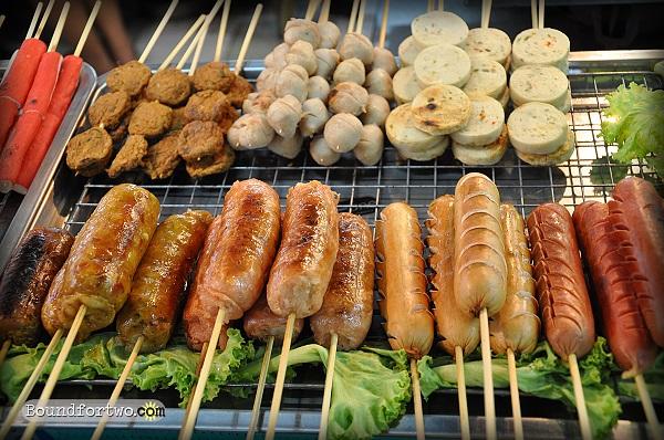 Chorizo Hotdogs Fishballs FishCakes Crabsticks ASEAN Night Market Hatyai Thailand