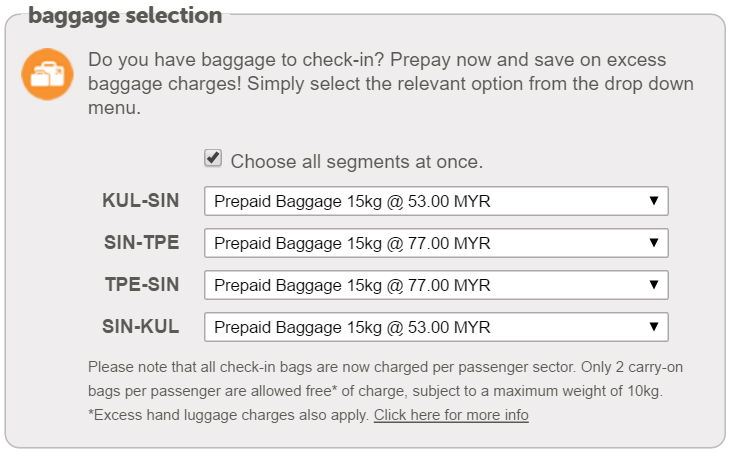 tiger air baggage fee 20kg