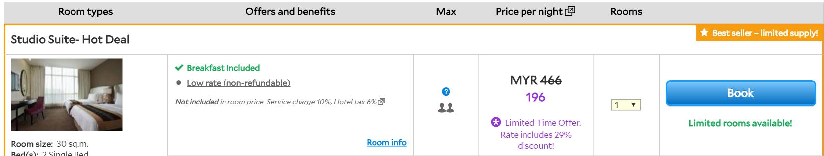 melaka hatten hotel rm196