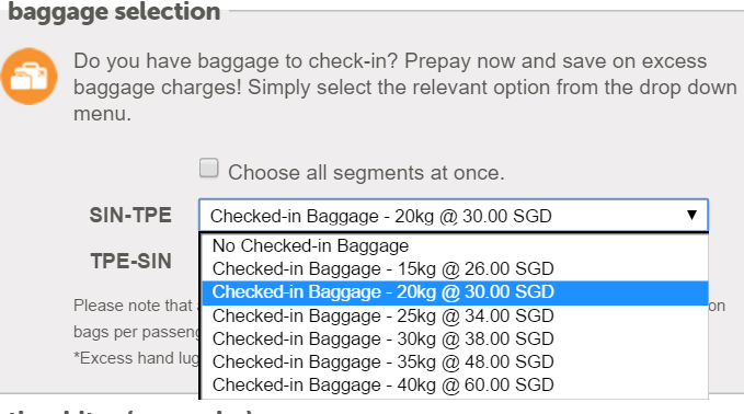sin to tpe baggage