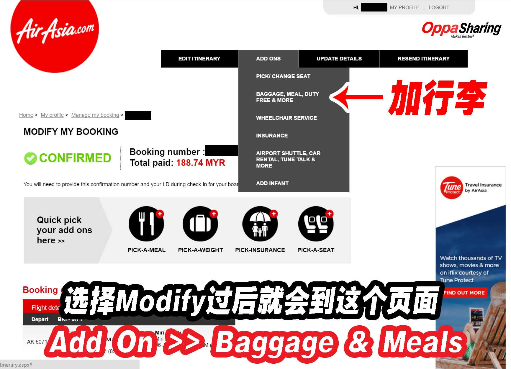 baggage and meals