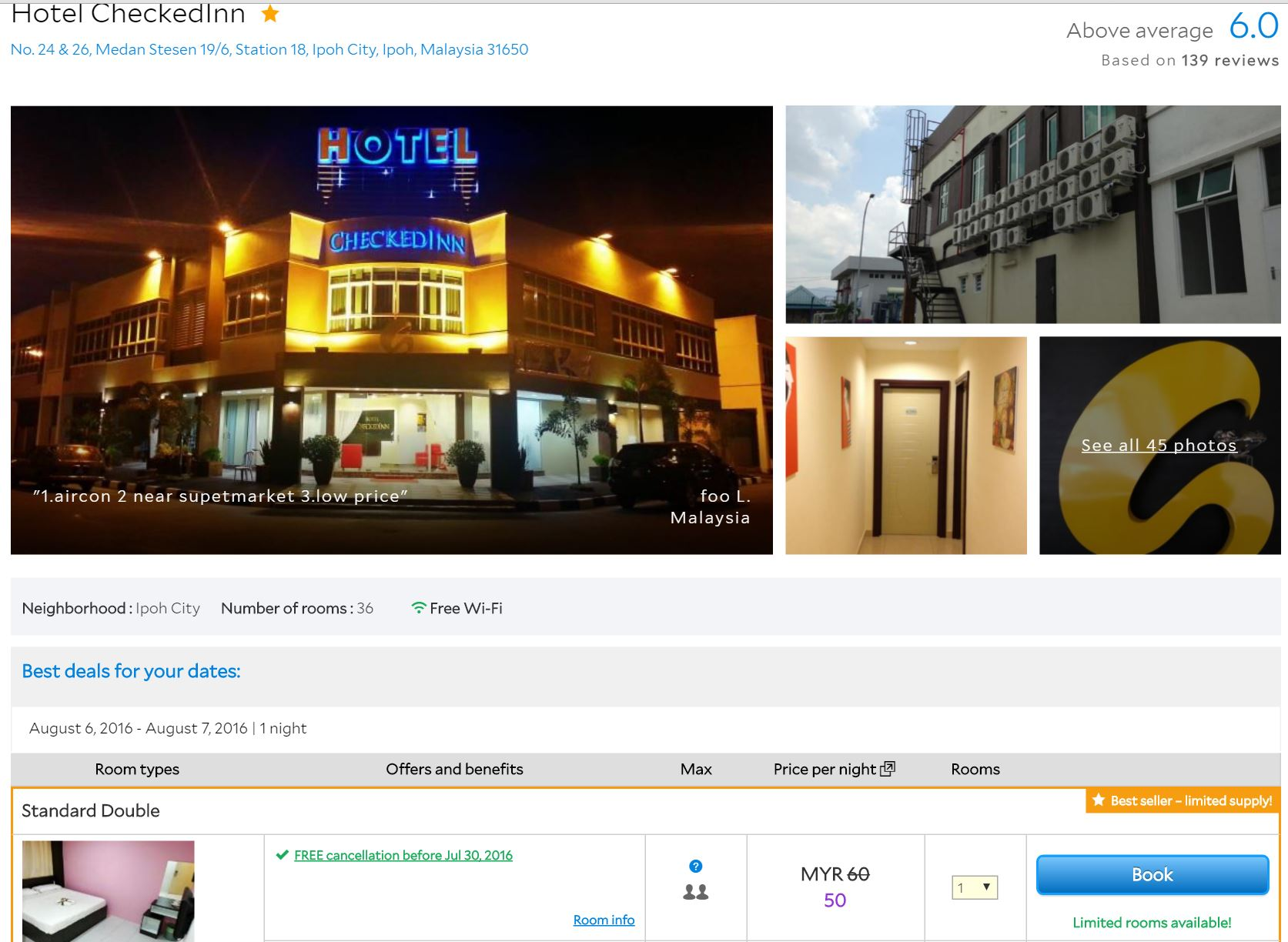check inn hotle rm50