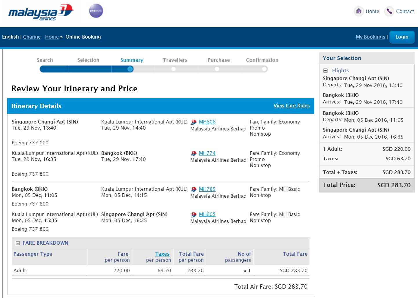 singapore to bangkok via KUL