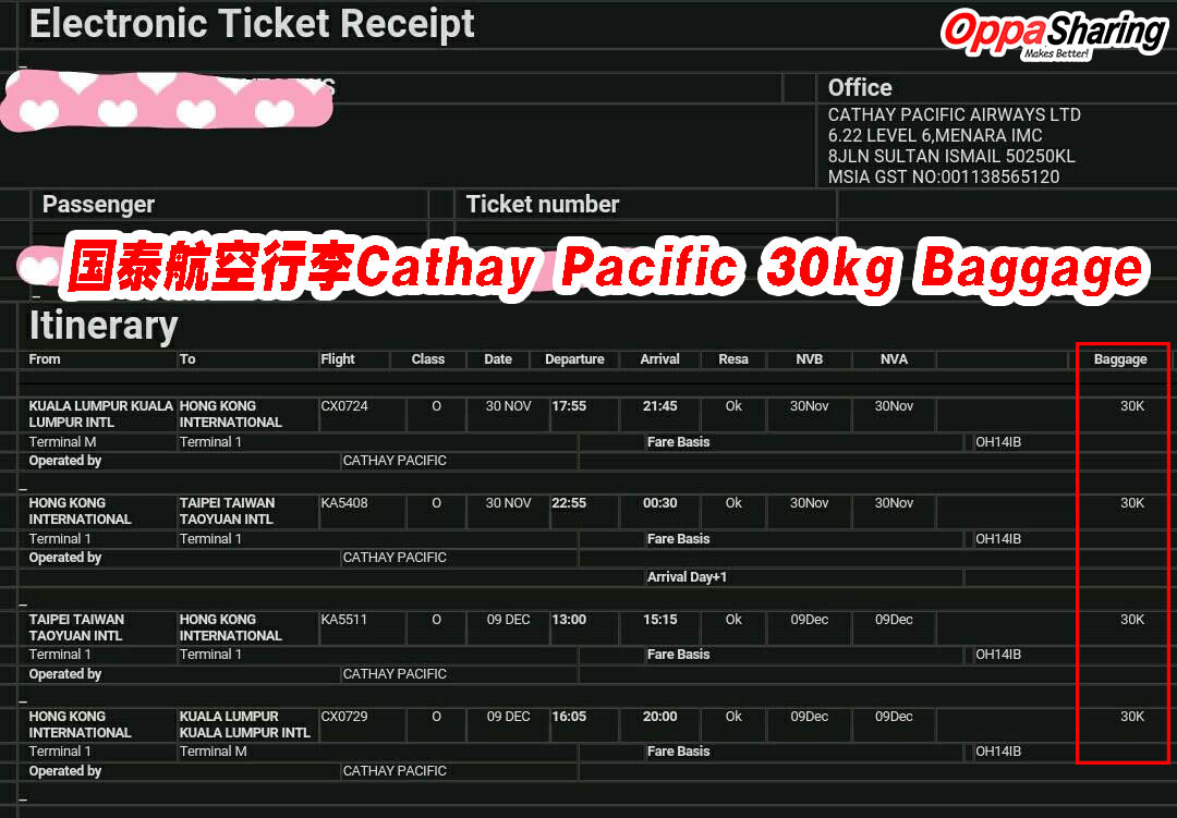 30kg baggage cathay pacific water