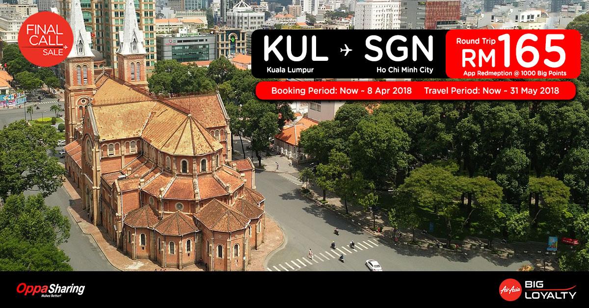 Photo of 【FINAL CALL】吉隆坡KUL — 胡志明SGN 来回机票RM165![Book Before: 8 Apr 2018]