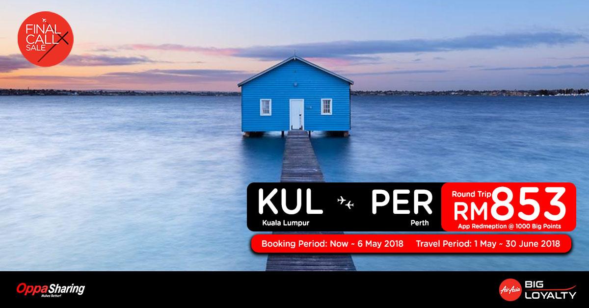 Photo of 【FINAL CALL X】吉隆坡KUL — 柏斯PER 来回机票RM853![Exp: 6 May 2018]