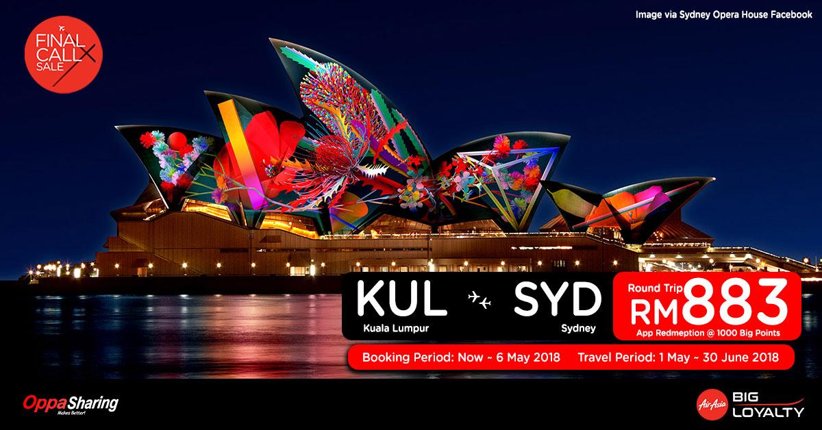 Photo of 【FINAL CALL X】吉隆坡KUL — 悉尼SYD 来回机票RM882![Exp: 6 May 2018]