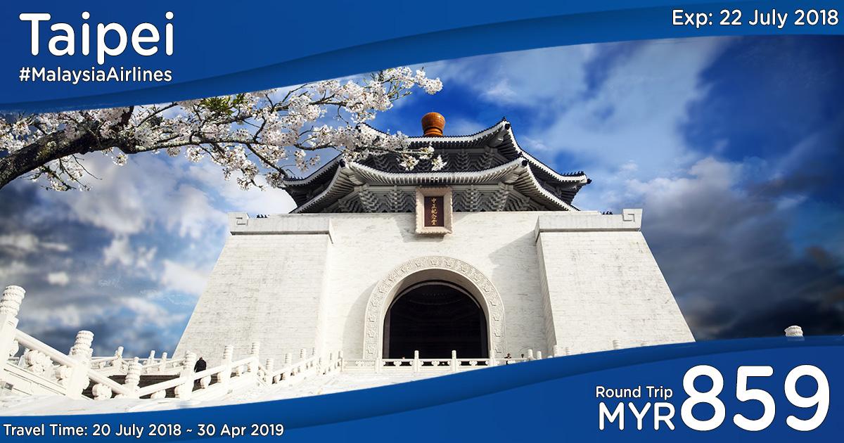 Photo of 【马航40%折扣】吉隆坡—台北Taipei 来回机票RM859(包括30kg行李+飞机餐)[Exp: 22 July 2018]