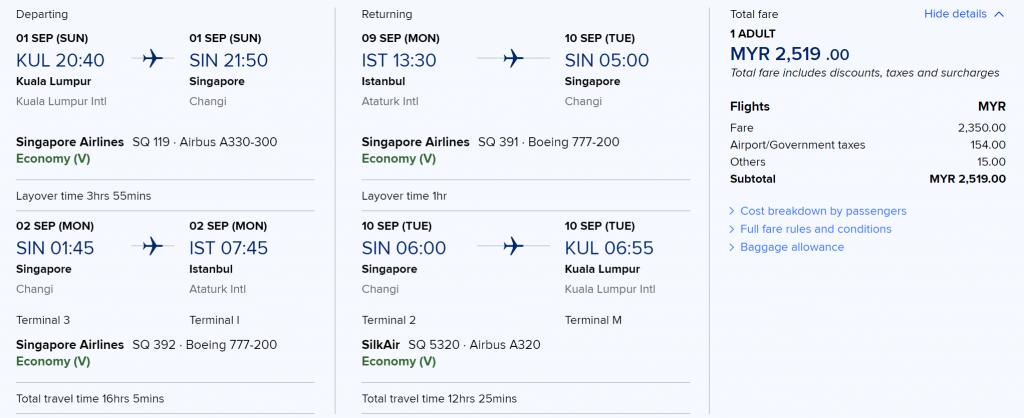 Singapore Airlines RM2519 Round Trip all Inclusive