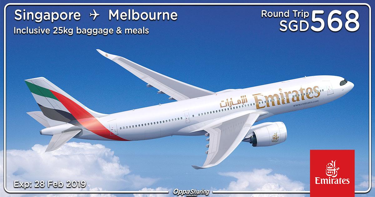 Photo of 【澳洲Australia优惠】新加坡SIN — 墨尔本Melbourne 来回SGD568!包括25kg行李+飞机餐! [Exp: 28 Feb 2019]