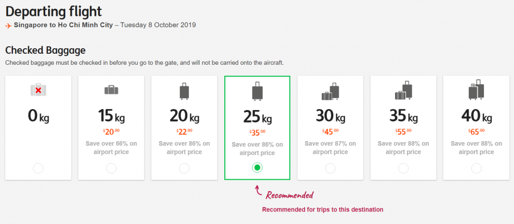 jetstar baggage fee sin-sgn