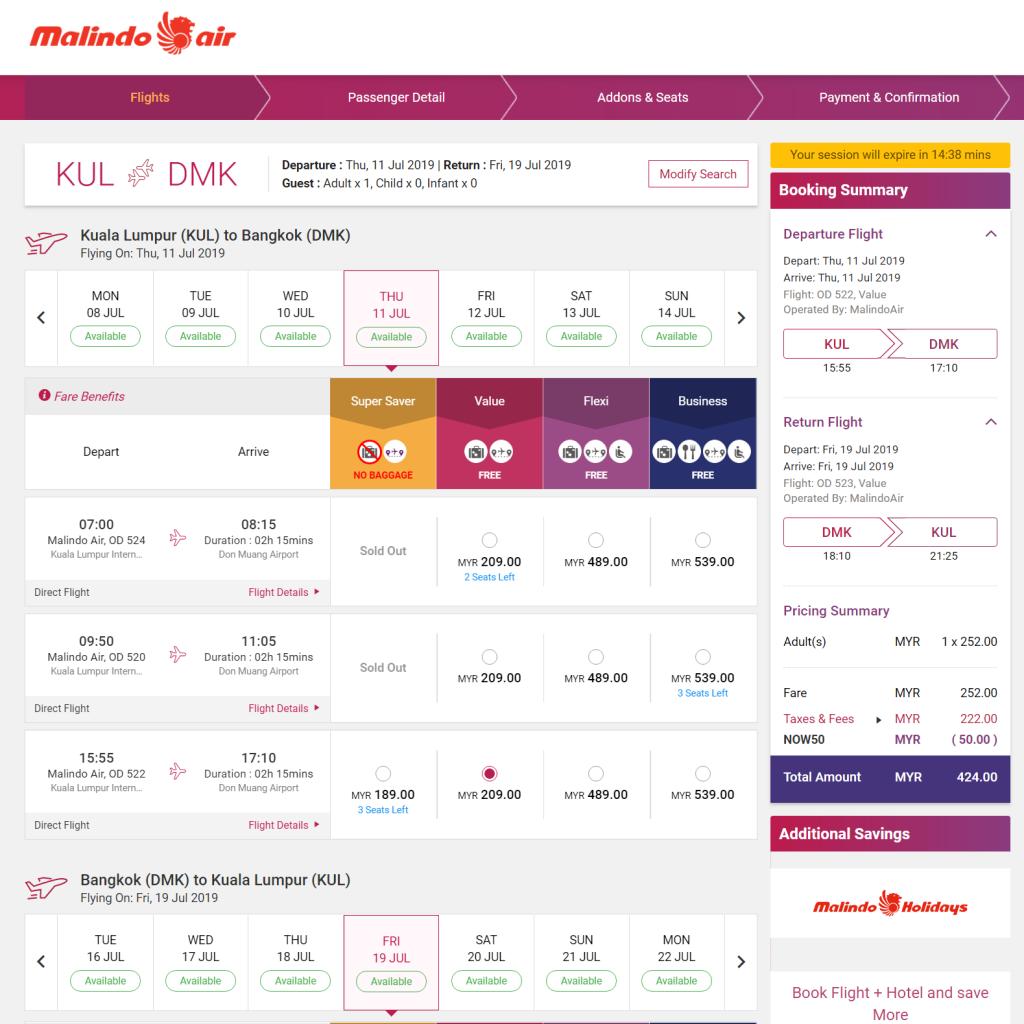 吉隆坡KUL — 曼谷Bangkok 包括了15kg托运行李+飞机餐 来回RM424 (使用折扣代码NOW50) 订购网站:MalindoAir.com