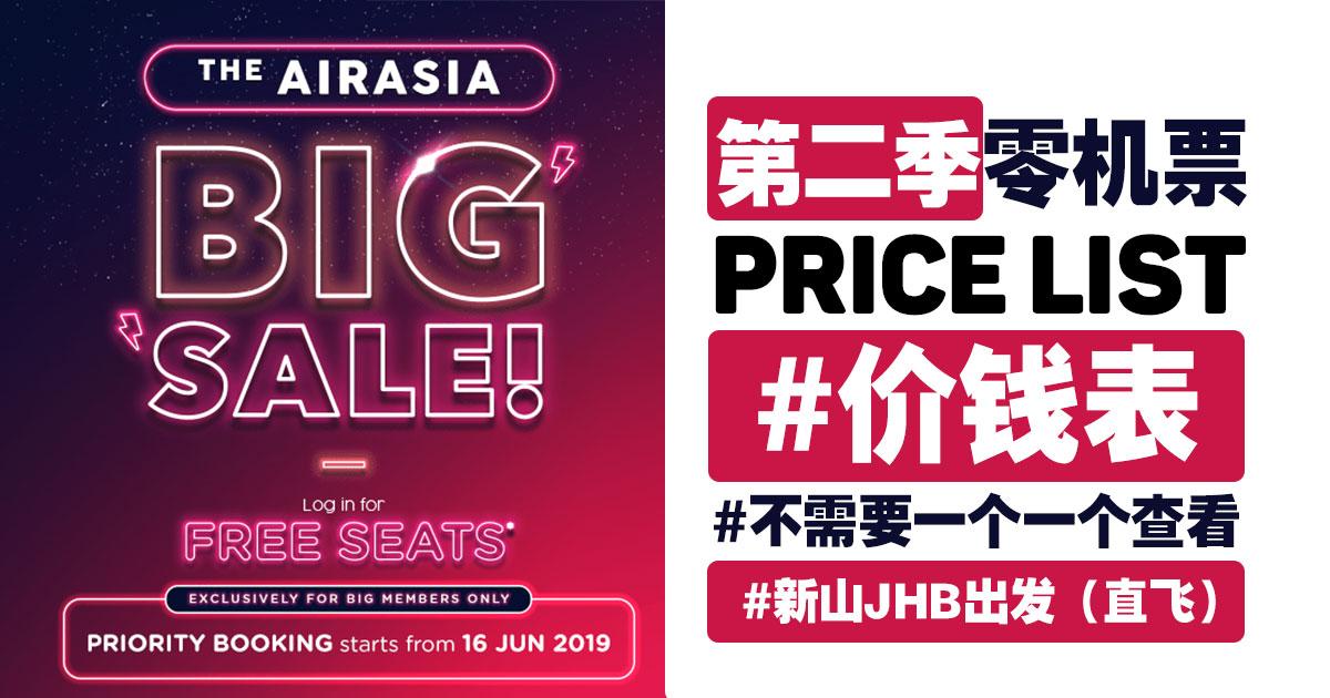 Photo of 【#价钱表】AirAsiaBIGSALE 2019!#新山JHB出发