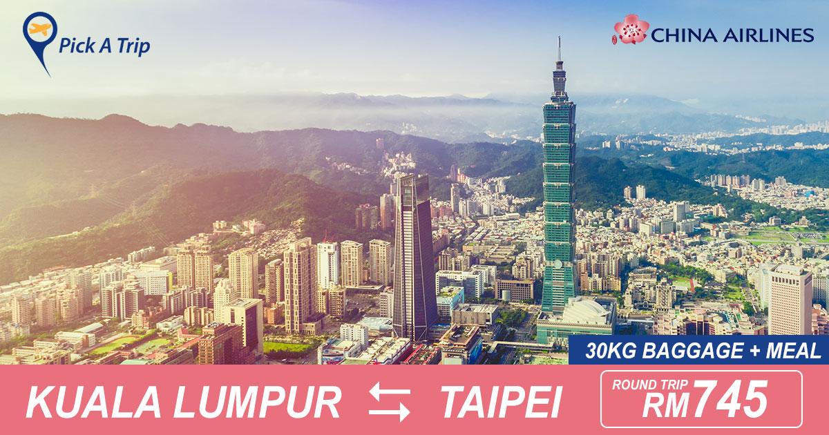 Photo of 【#比官网更便宜】吉隆坡KUL — 台北TPE 来回RM745 包括30kg托运+飞机餐![Exp: 31 Jul 2019]