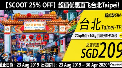 Photo of 【SCOOT 25% OFF】新加坡SIN  — 台北Taipei 来回RM630 包括20kg托运 [Exp: 23 Aug 2019]