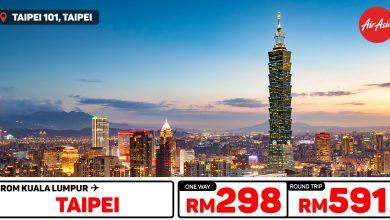 Photo of 【#AirAsia时间表】吉隆坡KUL — 台北Taipei 单程RM298 来回RM591![Exp: 1 Dec 2019]