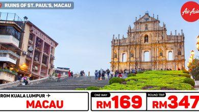 Photo of 【#时间表】吉隆坡KUL — 澳门Macau 单程RM169 来回RM347![Exp: 10 Nov 2019]