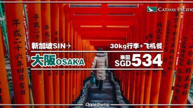 Photo of 【#时间表】新加坡SIN — 大阪Osaka 来回SGD534 包括30kg托运+飞机餐 [Exp: 13 Nov 2019]