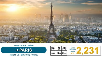 Photo of 【#时间表】吉隆坡KUL — 巴黎Paris 来回RM2,231 包括23kg托运+飞机餐![Exp: 31 Jan 2020]