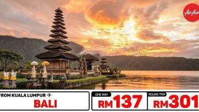 Photo of 【#时间表】吉隆坡KUL — 巴厘岛Bali 单程RM137 来回RM301 [Exp: 12 Jan 2020]