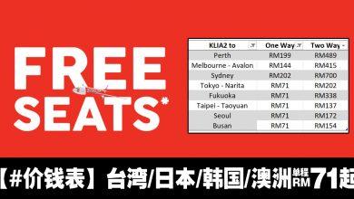 Photo of 【#价钱表】AirAsiaX零机票FREESEATS大促销!台湾/日本/韩国/澳洲 单程RM71起(含税)!