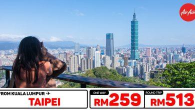Photo of 【#时间表】吉隆坡KUL — 台北Taipei 单程RM259 来回RM513 [Exp: 9 Feb 2020]