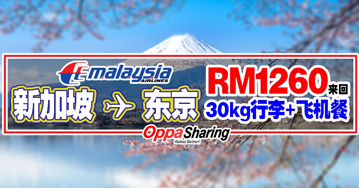 Photo of Singapore to Tokyo RM1260来回!30kg行李+飞机餐!Malaysia Airlines Economy Promo!