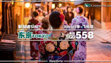 Photo of 【#时间表】新加坡SIN — 东京Tokyo 来回SGD558 包括30kg托运+飞机餐![Exp: 13 Nov 2019]