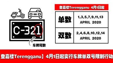 Photo of 【登嘉楼Terengganu】4月1日起实行车牌单双号限制行动!