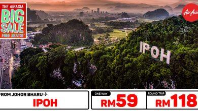 Photo of 【AirAsia #时间表】新山JHB — 怡保IPOH 单程RM59 来回RM118