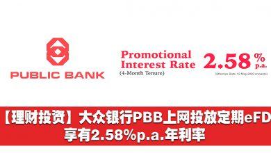 Photo of 【理财投资】大众银行PBB上网投放定期eFD享有2.58%p.a.年利率!