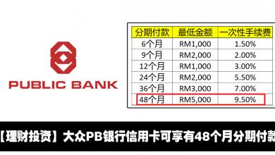 Photo of 【理财投资】大众PB银行信用卡可享有48个月分期付款!PB Flexipay最新选项!