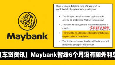 Photo of 【车贷资讯】Maybank宣布车贷暂缓6个月没有额外利息!