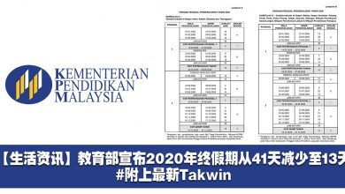 Photo of 【生活资讯】教育部宣布2020年终假期从41天减少至13天!#附上最新Takwin